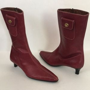 Coach Cranberry Red Monique Kitten Heel Boots